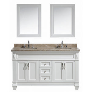 "Design Element Hudson 60"" Vanity Set in White w/ Marble Top DEC059C-W-G - Vanity Connection"