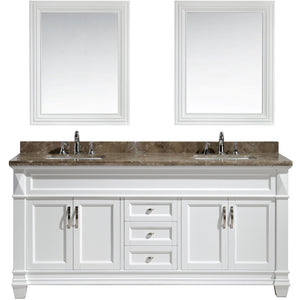 Design Element Hudson 72″ Double Sink Vanity Set in White with Marble Top DEC059D-W-W - Vanity Connection