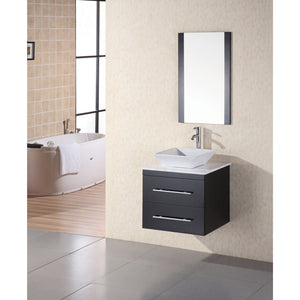 "Design Element Portland 24"" Single Sink - Wall Mount Vanity Set in Espresso w/ White Marble Top DEC071C-W - Vanity Connection"