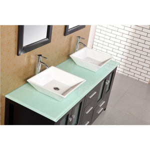 "Design Element Arlington 60"" Double Sink Vanity Set w/ Glass Top DEC072B-G - Vanity Connection"