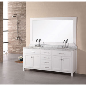 "Design Element London Stanmark 61"" Double Sink Vanity Set in White DEC076A-W - Vanity Connection"