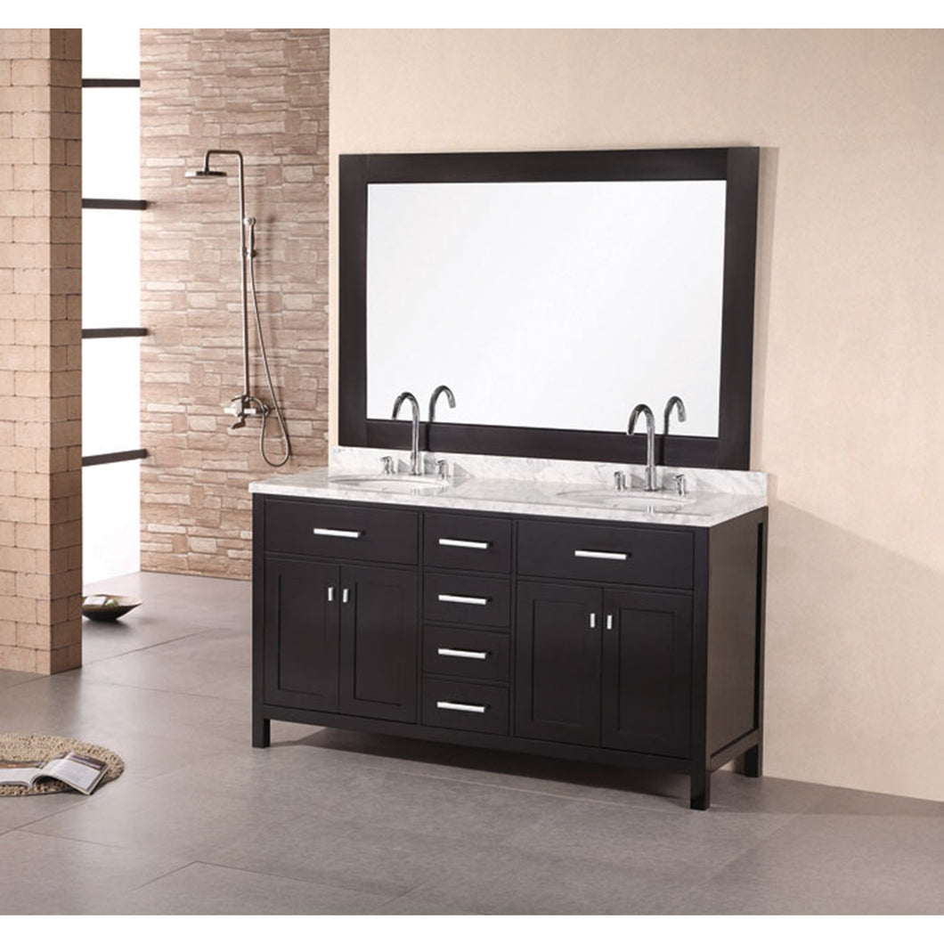 Design Element London Stanmark 61″ Double Sink Vanity Set in Espresso DEC076A - Vanity Connection