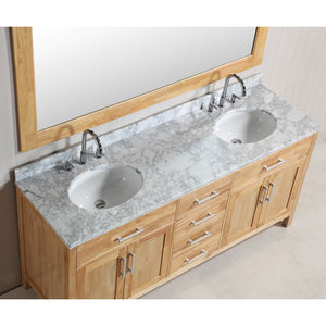 "Design Element London Stanmark 72"" Double Sink Vanity Set in Honey Oak DEC076B-O - Vanity Connection"