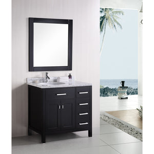"Design Element London Stanmark 36"" Vanity Set in Espresso-Right DEC076D-R - Vanity Connection"