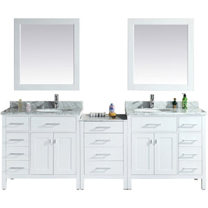 "Design Element London Stanmark 92"" Double Sink Vanity Set in White DEC076D-W-92 - Vanity Connection"