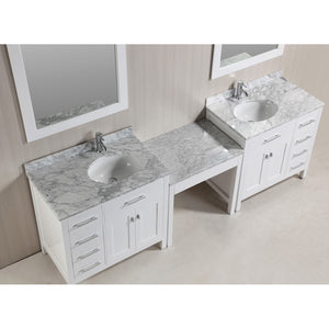 "Design Element Two London Stanmark 36"" Single Sink Vanity Set w/ Make-up table in White DEC076D-W_DEC076D-L-W_MUT-W - Vanity Connection"