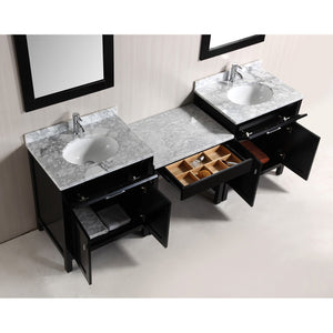"Design Element Two London 30"" Single Sink Vanity Set and One Make-up table in Espresso DEC076EX2_MUT - Vanity Connection"