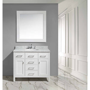 "Design Element London Stanmark 42"" Single Sink Vanity Set in White DEC076F-W - Vanity Connection"