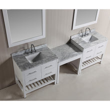 "Load image into Gallery viewer, Design Element Two London 36"" Single Sink Vanity Set w/ Make-up table in White DEC077A-WX2_MUT-W - Vanity Connection"