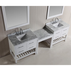 "Design Element Two London 36"" Single Sink Vanity Set w/ Make-up table in White DEC077A-WX2_MUT-W - Vanity Connection"