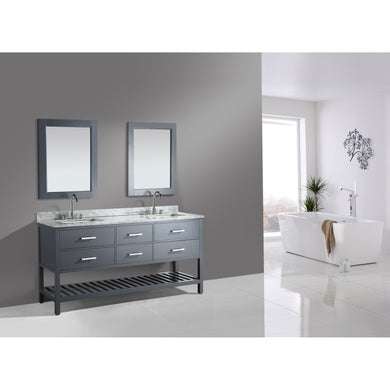 Design Element London Cambridge 72″ Double Sink Vanity Set in Country Gray DEC077B-G - Vanity Connection
