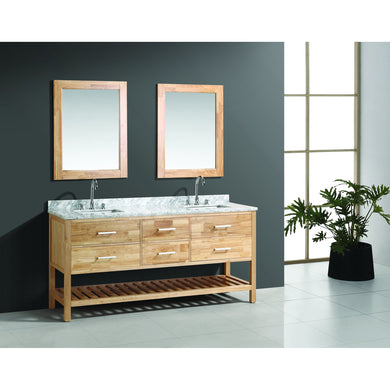 Design Element London Cambridge 72″ Double Sink Vanity Set in Honey Oak DEC077B-O - Vanity Connection