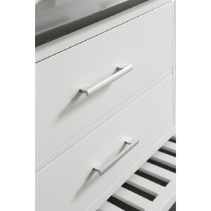 Design Element London Cambridge 72″ Double Sink Vanity Set in White w/ Gray Quartz Top DEC077B-W-GT - Vanity Connection