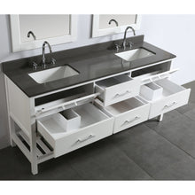 Load image into Gallery viewer, Design Element London Cambridge 72″ Double Sink Vanity Set in White w/ Gray Quartz Top DEC077B-W-GT - Vanity Connection