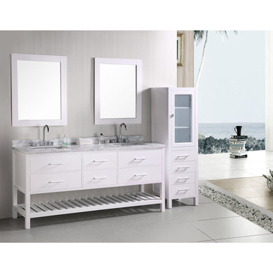 Design Element London Cambridge 72″ Double Sink Vanity Set in White DEC077B-W - Vanity Connection