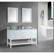 Load image into Gallery viewer, Design Element London Cambridge 60″ Double Sink Vanity Set in White DEC077C-W - Vanity Connection