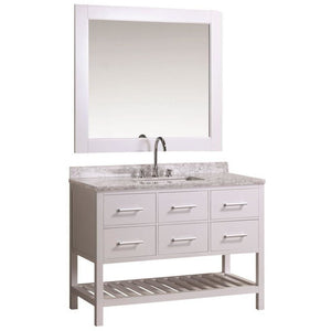 Design Element London Cambridge 48″ Single Sink Vanity Set in White Finish DEC077D-W - Vanity Connection