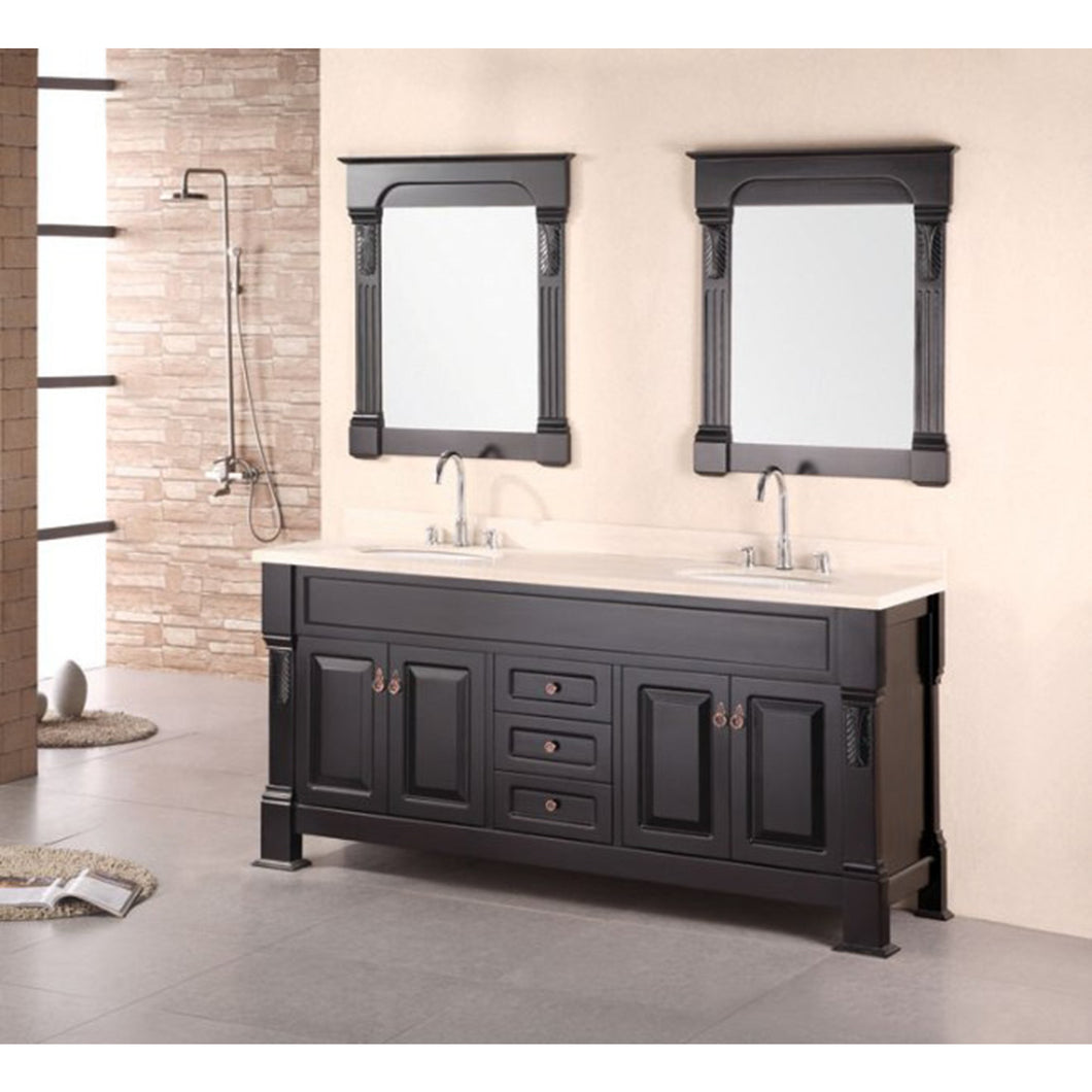 Design Element Marcos 72″ Double Sink Vanity Set with Travertine Stone Countertop in Espresso DEC081B - Vanity Connection