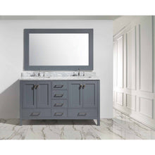 "Load image into Gallery viewer, Design Element London Hyde 61"" Double Sink Vanity Set in Gray Finish DEC082A-G - Vanity Connection"