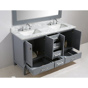 "Design Element London Hyde 61"" Double Sink Vanity Set in Gray Finish DEC082A-G - Vanity Connection"