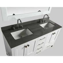 Load image into Gallery viewer, Design Element London Hyde 60″ Double Sink Vanity Set in White | Smoke Gray Quartz DEC082A-W-GT - Vanity Connection