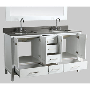 Design Element London Hyde 60″ Double Sink Vanity Set in White | Smoke Gray Quartz DEC082A-W-GT - Vanity Connection