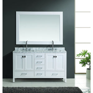 "Design Element London Hyde 60"" Double Sink Vanity Set in White Finish DEC082A-W - Vanity Connection"