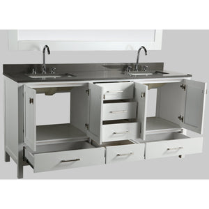 Design Element London Hyde 72″ Double Sink Vanity Set in White | Smoke Gray Quartz DEC082B-W-GT - Vanity Connection