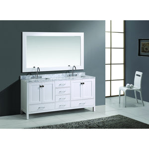 "Design Element London Hyde 72"" Double Sink Vanity Set in White Finish DEC082B-W - Vanity Connection"