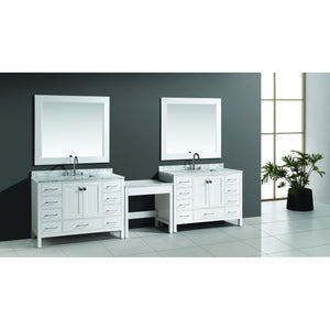 "Design Element Two London 48"" Single Sink Vanity Set in White Finish w/ Make-up table DEC082C-WX2_MUT-W - Vanity Connection"