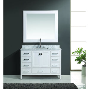 "Design Element London Hyde 48"" Single Sink Vanity Set in White Finish DEC082C-W - Vanity Connection"