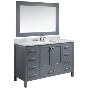 "Design Element London Hyde 54"" Single Sink Vanity Set in Gray Finish DEC082D-G - Vanity Connection"