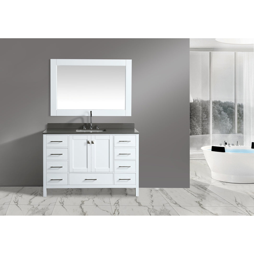 Design Element London Hyde 54″ Single Sink Vanity Set in White | Smoke Gray Quartz DEC082D-W-GT - Vanity Connection
