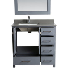 Load image into Gallery viewer, Design Element London Hyde 36″ Vanity Set in Country Gray | Smoke Gray Quartz DEC082F-G-GT - Vanity Connection