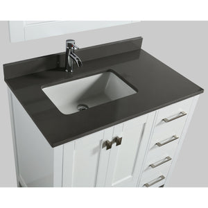 Design Element London Hyde 36″ Single Sink Vanity Set in White | Smoke Gray Quartz DEC082F-W-GT - Vanity Connection