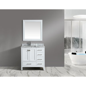 Design Element London Hyde 36″ Single Sink Vanity Set in White | Carrara Marble DEC082F-W-WT - Vanity Connection