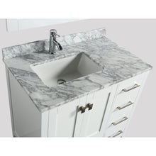 Load image into Gallery viewer, Design Element London Hyde 36″ Single Sink Vanity Set in White | Carrara Marble DEC082F-W-WT - Vanity Connection