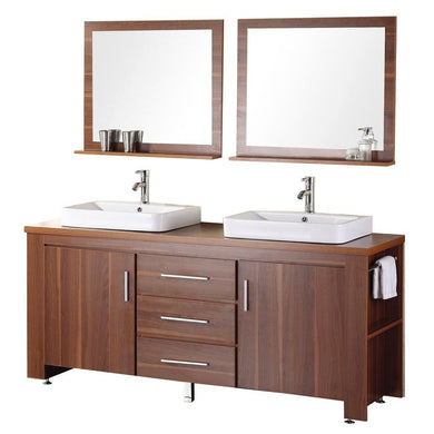 Design Element Washington 72″ Double Sink Vanity Set in Toffee DEC083D-L - Vanity Connection