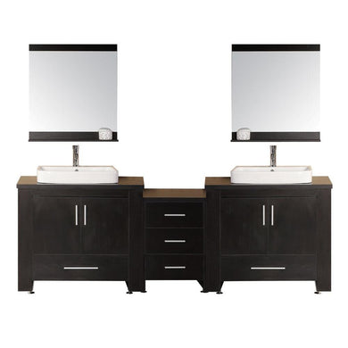 Design Element Washington 96″ Double Sink Vanity Set in Espresso DEC083-E - Vanity Connection