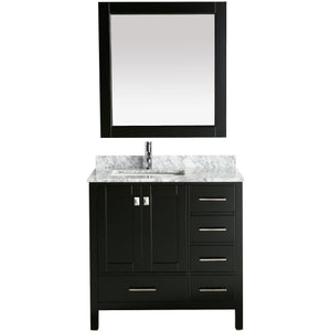 "Design Element London Hyde  36"" single Sink Vanity Set in Espresso DEC082F-E-WT - Vanity Connection"