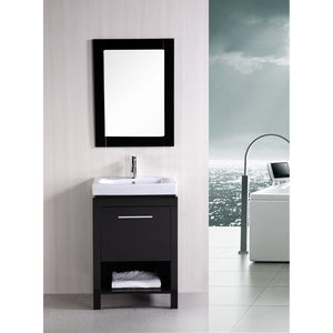 "Design Element New York 24"" Single Sink Vanity Set in Espresso DEC091A - Vanity Connection"