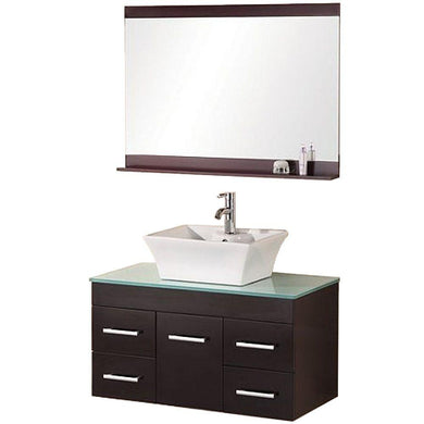 Design Element Portland (Madrid) 36″ Single Sink – Wall Mount Vanity Set in Espresso | Tempered Glass DEC1100A-36 - Vanity Connection