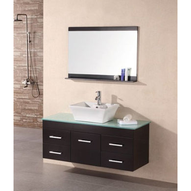 Design Element Portland (Madrid) 48″ Single Sink – Wall Mount Vanity Set in Espresso | Tempered Glass DEC1100A - Vanity Connection