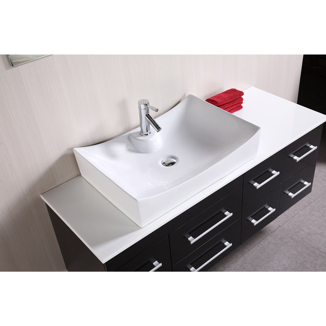 Design Element Portland (Springfield) 53″ Single Sink – Wall Mount Vanity Set in Espresso DEC1101 - Vanity Connection