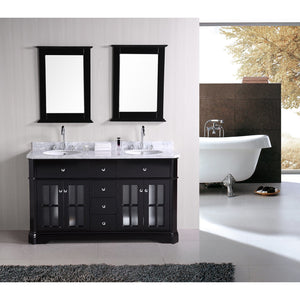 "Design Element Imperial 60"" Double Sink Vanity Set in Espresso DEC306A - Vanity Connection"