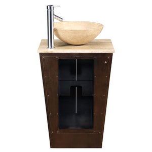 "Silkroad Exclusive 22"" Travertine Top Single Sink Bathroom Vanity - HYP-0155-T-22 - Vanity Connection"