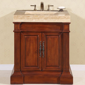 "Silkroad Exclusive 32.5"" Travertine Top Single Sink Bathroom Vanity - HYP-0219-T-VT-32.5 - Vanity Connection"