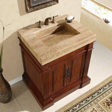 "Load image into Gallery viewer, Silkroad Exclusive 32.5"" Travertine Top Single Sink Bathroom Vanity - HYP-0219-T-VT-32.5 - Vanity Connection"