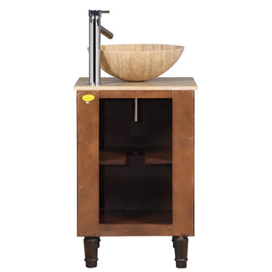 "Silkroad Exclusive 20"" Travertine Top Single Sink Bathroom Vanity - HYP-0225-T-20 - Vanity Connection"