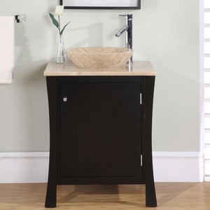 "Silkroad Exclusive 26"" Travertine Top Single Sink Bathroom Vanity - HYP-0711-T-TT-26 - Vanity Connection"